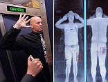 Controversial: A demonstration of the scanners that European bosses have failed to give the green light for. A full body scan is shown, left, and a screen showing the results of the scan, right