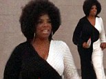 A hair raising transformation: Oprah Winfrey sports an afro and 1970s geometric gown on set of new film The Butler