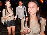Leah Weller seems in good spirits as she and a friend left Madame JoJo's in Soho