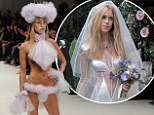 After THAT wedding dress, Lady Mary Charteris sports another bizarre creation as she walks the runway alongside Alice Dellal