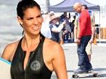 Daniela Ruah and LL Cool J film NCIS: Los Angeles on Venice Beach on Monday