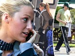 Blake Lively pictured on the set of Gossip Girl