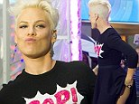 Pink hitches up her skirt and gives viewers an eyeful of her pert posterior during Today Show performance