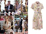 Flower power: Kate looked stunning in Tuvalu where she paired the silk dress with a flower garland