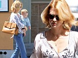 Family day out: January Jones and her son Xander
