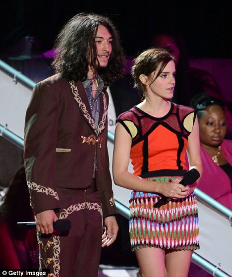 Big job: The pair took to the stage to present an award during the ceremony