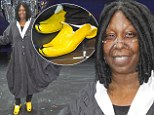 Careful you don't slip! Whoopi Goldberg steps out in a pair of humorous banana skin shoes