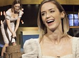 A lady of many talents: Emily Blunt glams up for an appearance on the Jonathan Ross Show... to display her wood chopping skills