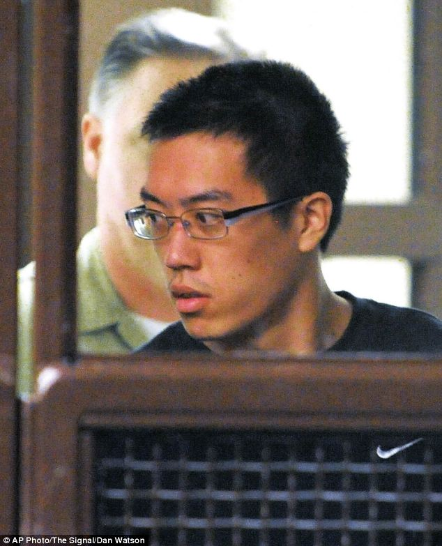 Accused: Former Yale student Eric Yee (pictured here at his arraignment hearing at San Fernando Courthouse in San Fernando, California)) allegedly posted online that he wouldn't mind killing children