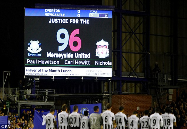 Respect: Everton and Newcastle showed their support on Monday for the 96 victims of the disaster