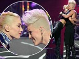 Puckering up: Gwen Stefani and Pink shared a kiss after the latter surprised her on stage during No Doubt's performance at the 2012 iHeartRadio Music Festival in Las Vegas