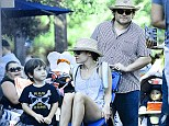 Isn't that meant to be for the children? Jack Black pushed along his wife Tanya in their sons' buggy as the family enjoyed a couple of days at Disneyland in California