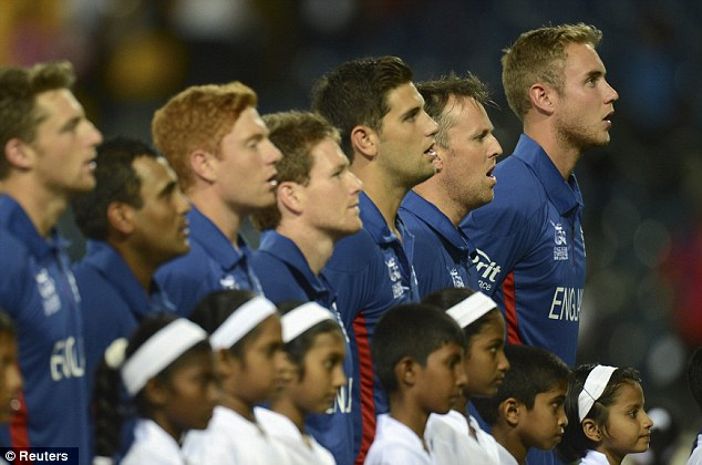Raring to go: England sing the national anthem
