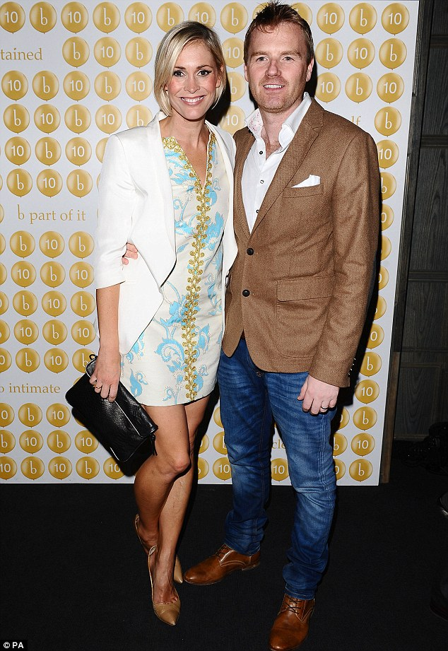 On the town: Jenni Falconer and her husband James Midgley took a rare night off the parenting duties to attend the Boujis event