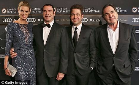 Smile again: John Travolta is back withSavages, pictures here Nadja Schildknecht, Karl Spoerri and Oliver Stone at the opening of Zurich Film Festival 2012 on Thursday