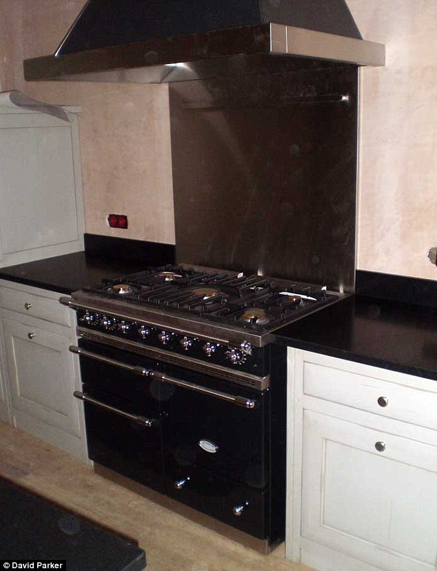 Pricey: A cooker in Harper's kitchen that cost £8,000
