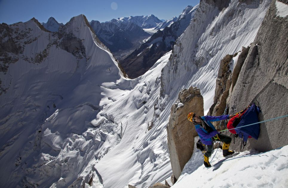 Head for heights: The daredevil trio of Conrad Anker, Jimmy Chin and Renan Ozturk spent 12 days scaling up the jagged near vertical point on Meru Central in the Himalayas
