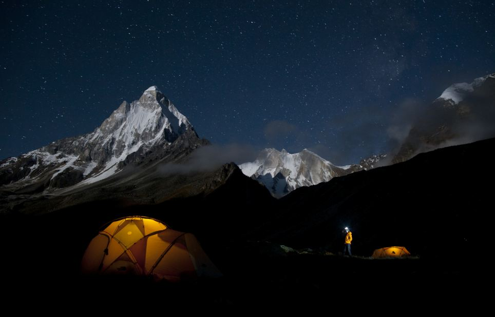 Star-filled sky: Renan Ozturk checking out the stars above basecamp, the night before the approach to the base of the route