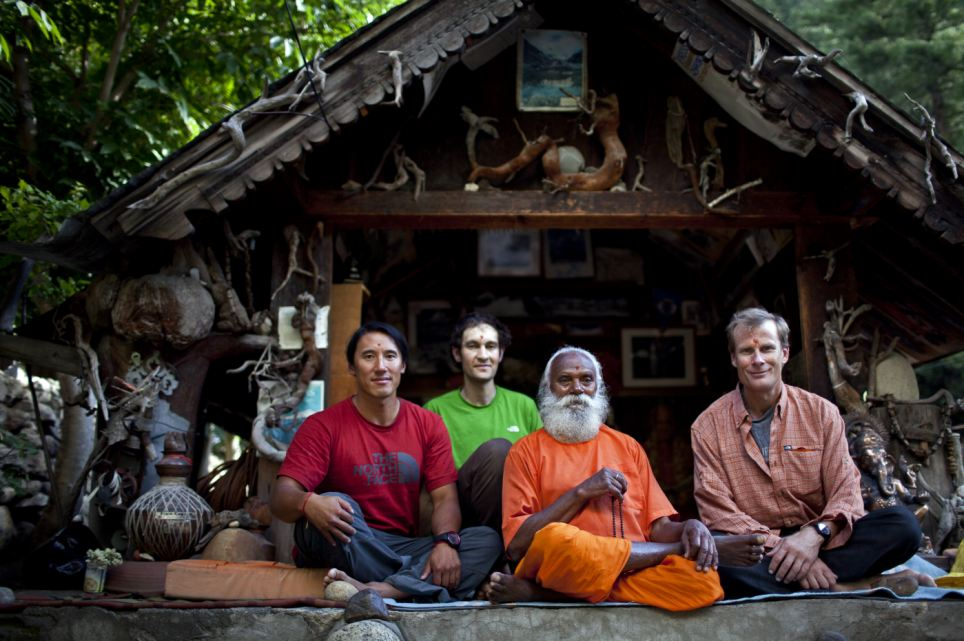 Good luck: The trio with a Sirdar in Gangotri at the start of the expedition on Mount Meru