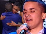 Cracking under the pressure: Jahmene Douglas needs pep talk from Nicole Scherzinger after breaking down before performance