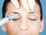 A young woman having botox injections.
