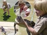 Robert Irwin, the 8-year-old son of the late Steve 'Crocodile Hunter' Irwin, feeds crocodiles at Australian zoo