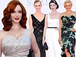 Dangerous curves: Christina Hendricks wore custom Siriano to the Emmy Awards in Los Angeles on Sunday night