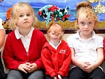 'Massive personality': World's smallest girl Charlotte Garside (centre) joins other pupils on her first day at primary school