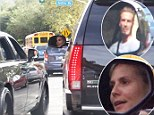 Fancy seeing you here! David Beckham and Heidi Klum share a quick car window chat as they sit in traffic after school run