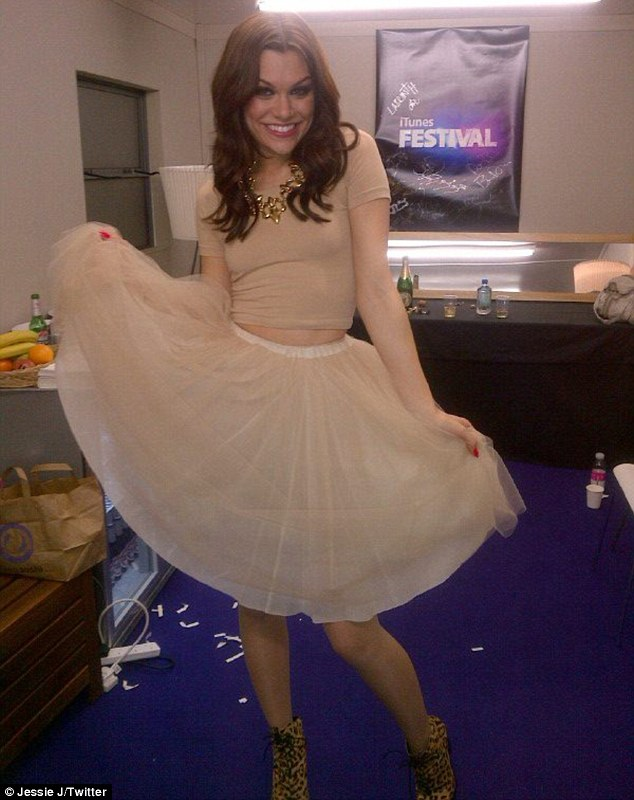 'I'm beaming': After the show, a very happy Jessie uploaded a picture of herself in a nude ensemble