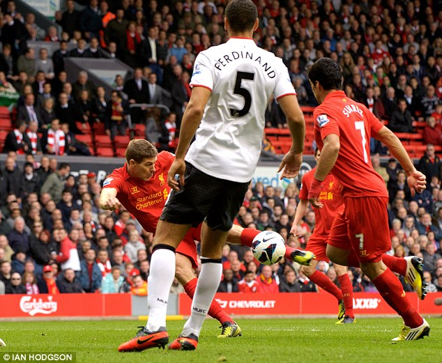 Quick out the blocks: Steven Gerrard scores for Liverpool at the start of the second half