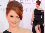 The perils of an Angelina leg! Alexandra Breckenridge flashes her nude underwear as she recreates Jolie's pose at Emmys