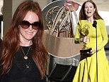 No way she's checking THAT as luggage! Julianne Moore carries Emmy award in brown paper bag through LAX