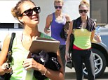 Leggy in Lycra Jessica Alba emerges from dance studio dripping in sweat