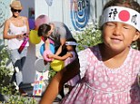 Halle Berry and fiancé Olivier Martinez take her little Karate Kid Nahla to birthday party