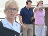 Jennifer Aniston has specs appeal as she joins Jason Sudeikis and Emma Roberts on the set of We're The Millers
