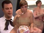 Naked ambition! Jimmy Kimmel persuades Girls star Lena Dunham to strip off for hilarious Emmy Awards opening skit