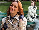 She's in fashion: Leighton Meester is blooming lovely in a floral coat on the set of Gossip Girl