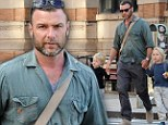Liev Schreiber takes on parenting duties for a stroll round New York with his two young sons