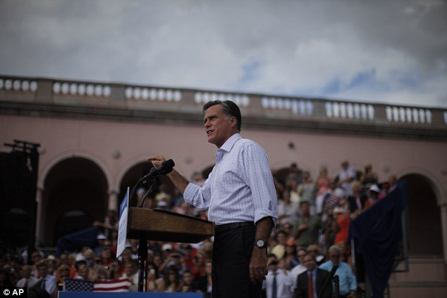 Stumping: Romney was at the Ringling Museum of Art in Sarasota, Florida yesterday at a campaign event