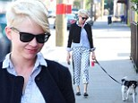 Michelle Williams turns a dog walk into a fashion show in playful trousers