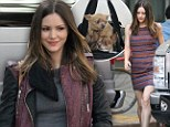 Pet a porter! Leggy Katharine McPhee carries her Chihuahuas to work in a gym bag for a day of filming on Smash