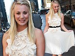 Big Bang Theory's Kaley Cuoco turns on the Hollywood glamour in ruffled white dress as she heads to TV studios in New York