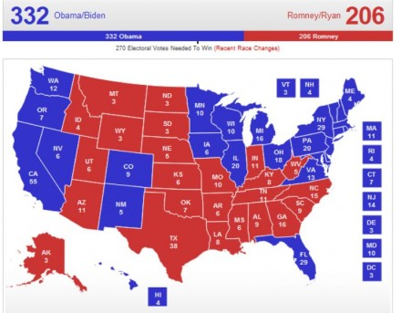 (RealClearPolitics—2012 Election Maps—Electoral Map No Toss Ups)