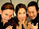 Bagel heads: John (left), Marin (centre) and Scorpion (right) pose after having saline injected into their foreheads to create the bizarre body modfication