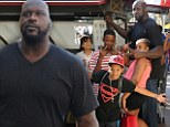Big daddy: Shaquille O'Neal took his five children on a shopping spree to The Grove in L.A. on Wednesday