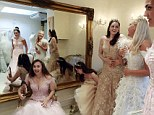 Debutantes Maria Austin, Amelia Simmons, Sophie Bonello, Zoe Rawson, and Georgina Riddle (L-R) attend a dress-fitting for Queen Charlotte's Ball in central London