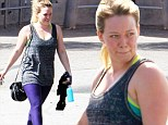 Sweating it out: Hilary Duff leaves another workout session with red, sweaty face