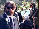 A death in the wolf pack family: Zach Galifianakis delivers a eulogy during a funeral scene as filming of The Hangover Part III continues