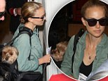 Now that's a doggy bag! Newly blonde Natalie Portman jets out of LAX with pampered pooch Whiz in tow